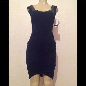 Alice & Olivia navy sheath dress* leather trim